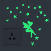 KQ_ Glow In The Dark Stars Fairy Wall Sticker Switch Decal Home Bedroom Toilet D