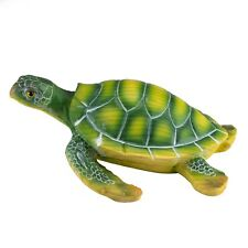 "Green Sea Turtle Faux Carved Wood Look Figurine 6"" Long Resin New In Box!"