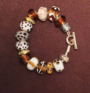 Animal Print Brown, Black and White Large Hole Bead European Style Bracelet