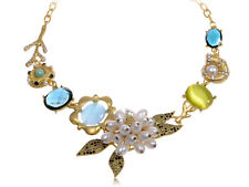 Fashion Ladies Gold Floral Necklace Colorful Nautical Shell Coral Petals Pendant
