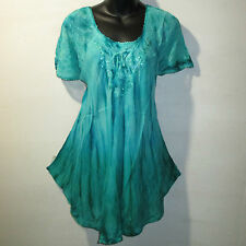 Top Fits XL 1X 2X 3X Plus Tunic Teal Green Lace Sleeves A Shaped NWT G7782