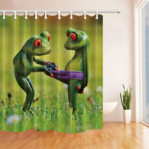 Frogs Fall in Lover Waterproof Fabric Bathroom Shower Curtains & Hooks 71Inch