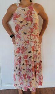 BILLABONG Women's Midi Sun Dress - Soft Pinks Tropical Print M/L - NWT