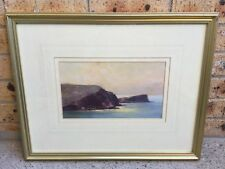 KEN KNIGHT - ORIGINAL OIL PAINTING OF SEA SIDE CLIFF BY SUNSET - 18.70 x 32.5 CM