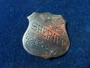"Rare Orig Antique Obsolete Badge ""Sheriff"" Very Ornate c 1900"