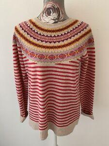 KEW 100% Pure Lambswool Pink Stripe Pattern Neckline Jumper Sweater Size L 14/40