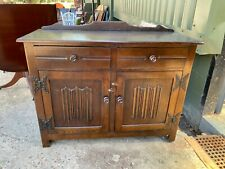 Vintage Antique Solid Dark Hardwood Sideboard Cupboard Cabinet with Drawers