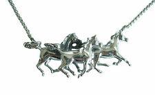Art Deco Halskette Pferde 925 Silber liebevoll detailliert Necklace Horse anhgl6
