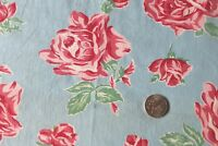 "Beautiful Vintage c1940 Pink-Red Roses On Sky Blue Ground Cotton Fabric~17""X25"""