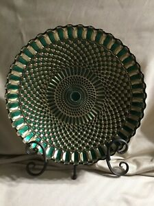 """13"""" Diameter, Hunter Green, and Gold, Plate/Bowl made in Turkey"""
