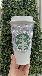Crystal Handmade Starbucks Travel Cup Mug Iridescent (1750 Crystals) Christmas