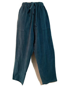 DAMART Casual Trousers Sz UK 24 Jazzy Cotton Corduroy Pants Teal Bottoms Comfort