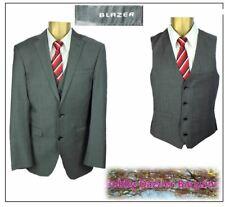 """Blazer 3 piece mens suit Ch36""""R W34"""" L34"""" Grey Sharkskin"""