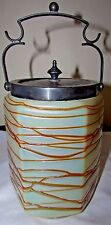 Bohemian Kralik Pallme-Koenig Art Glass Uranium Threaded Biscuit Jar