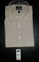 Dockers Dress Shirt Button-Front NWT L 16-16.5/34-35 Check Beige White f010