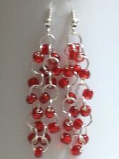 Unique Rare Red Glass seed bead dangle earrings with sterling silver.