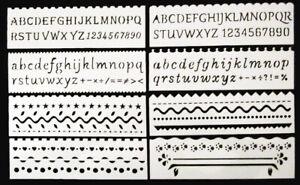 8 Schablonen Buchstaben,Zahlen,Linien,Figuren, DIY Malerei Handwerk Projekte