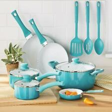 Ceramic Nonstick 12 Pc Cookware Set, Teal Home Kitchen Cook, Pots & Pans