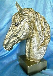 "Horse Head Bust Metallic Gold Resin Desk statue figurine 12"""