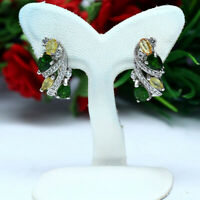 NATURAL CHROME DIOPSIDE, YELLOW SAPPHIRE & WHITE CZ EARRINGS 925 STERLING SILVER