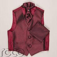Boys Burgundy Waistcoat Cravat Handkerchief Set Wedding Prom Christening