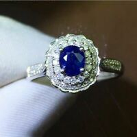 2.50Ct Oval Cut Blue Sapphire Double Halo Engagement Ring 14K White Gold Finish