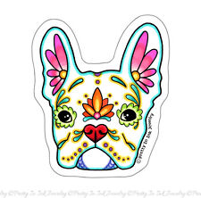 French Bulldog in White Sticker - Day of the Dead Frenchie Sugar Skull Dog Decal