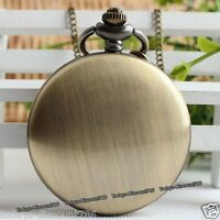 Bronze Pocket Watch Necklace Xmas Birthday Smooth Dad Husband Mens Gift For Him