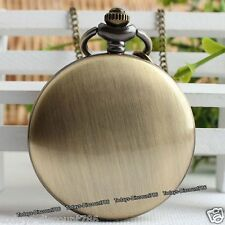 Dad Husband Mens Gift For Him Bronze Pocket Watch Necklace Xmas Birthday Smooth