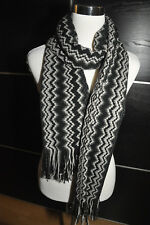 """AUTH NEW $250 MISSONI XL Knit Wool Blend Black Scarf  Wrap 22""""X76"""" Made in Italy"""
