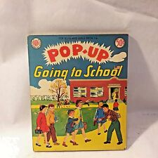 Vtg 1951 Pop-Up Avon Toy Kiddie Book Lithograph Illustrated GOING TO SCHOOL