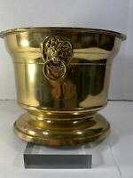 """Solid Brass Planter or Jardinière With Lion Head Handles  9' W x 7""""H 5 lbs"""