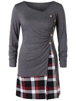Spring Fall Plus Size Plaid Draped Tunic T-Shirt Women Long Blouse Top Patchwork