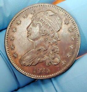 1835 Capped Bust Silver Quarter, Grey Tonning AU Details  Condition. - C8446A