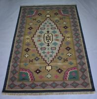 Traditional Cotton Rug Multi Color Floral Kilim Area Rug 150x240 Cm