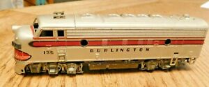 Vintage  Athearn HO Scale F7A Burlington Diesel Locomotive #135 Not Tested.