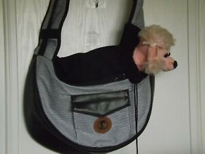 Pet travel bag shoulder bag Tote Small dog cat rabbit comfort padded striped VGC