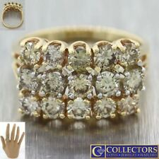 Vintage Estate Solid 14k Yellow Gold 2.25ctw Champagne Diamond Cluster Ring S8