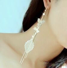 #1134 Women's Butterfly Dragonfly Leaf Drop Long Tassels Silver  Earring