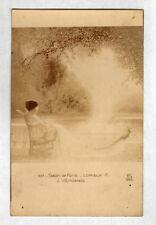 """ART PEINTURE SALON DE PARIS / FEMME avec PAON """"AUTOMNE"""" par A. LORIEUX"""