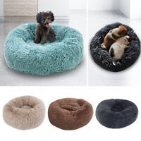 Pet Dog Cat Calming Bed Warm Soft Long Plush Round Comfy Cozy Nest Sleep Mat XL