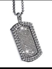 Para Hombre Hip Hop Iced Plata Cristales de Cadena de oro doble etiqueta de perro colgante collar 763