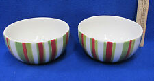 2 Ceramic Soup Cereal Bowls White Green Red Stripe Target Home Whimsy Snowman