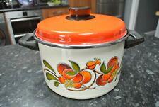 Vintage 1970 s volcanique Orange en acier inoxydable et émail Casserole Pot