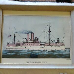 1898 Print US Battleship Maine Currier & Ives Framed Spanish American War 12x15