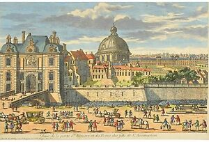 18th-C. French Hand-Colored Engraving