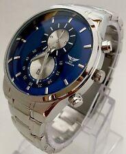Reloj Pulsera Para Hombre Correa De Metal Plateado Esfera Azul Casual Diseñador Clásico de la fecha de Reino Unido