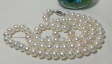 Solid silver genuine 4A11-12mm oblate freshwater pearls set L55/19.5cm 4pcs WHT