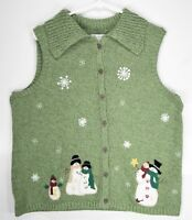 Christopher & Banks Size L Ugly Christmas Sweater Vest Winter Hand Embroidered