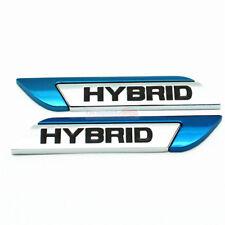 2x Blue HYBRID Metal Chrome Emblem Badge Side Trunk Rear Sticker For Honda Acura